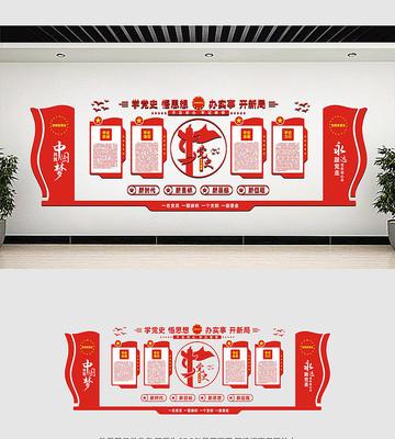 党员学党史教育文化墙