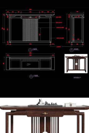 新中式玄关桌玄关台CAD桌子家具图纸