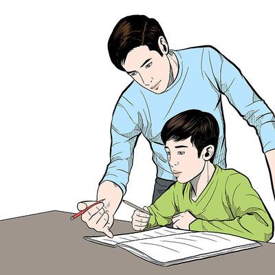 给学生批改作业的老师教师节