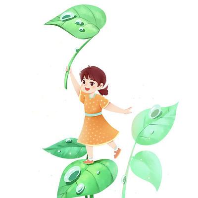 节气白露夏至女孩和叶子露水PNG素材