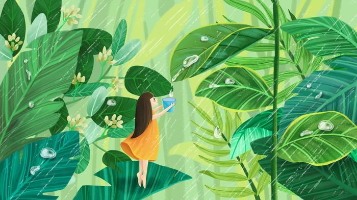 白露女孩举着树叶露水