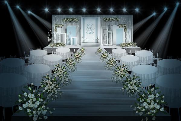 高档蓝色婚礼舞台背景效果图PSD