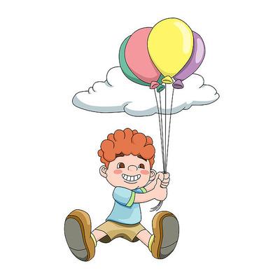 教师节儿童拉着气球