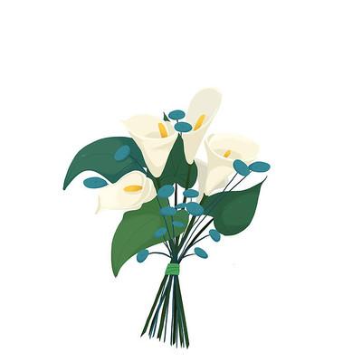 教师节卡通手绘花束免抠元素