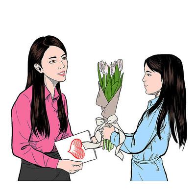 学生送花给老师教师节