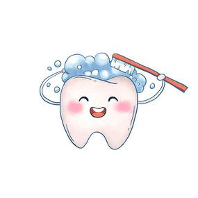 爱牙日可爱牙齿开心洗澡图