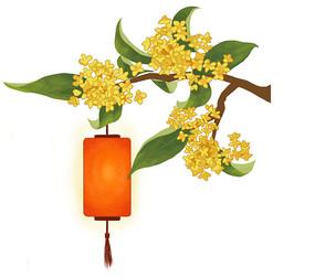 中秋节灯笼桂花组合