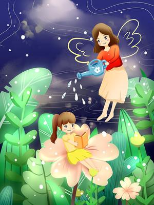 白露女孩给花浇水