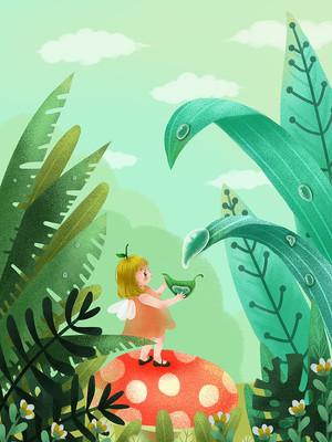 白露女孩露水树叶