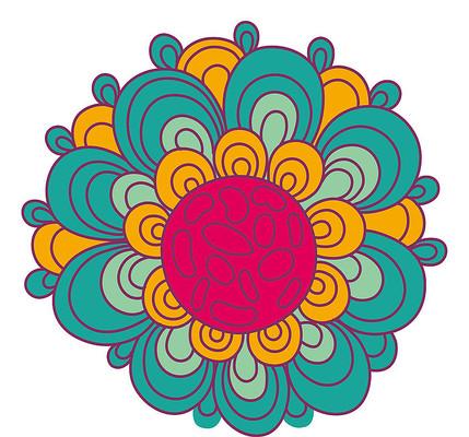 多色花瓣卡通手绘