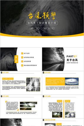 黄色简约大气台风预警PPT模板