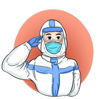 敬礼防疫医护人员抗疫疫情