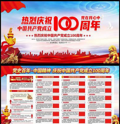 庆祝中国共产党成立100周年中国精神展板