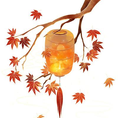 秋天节气国潮灯笼枫叶PNG素材