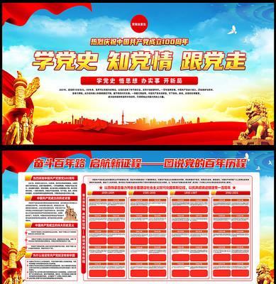 热烈庆祝中国共产党成立100周年展板
