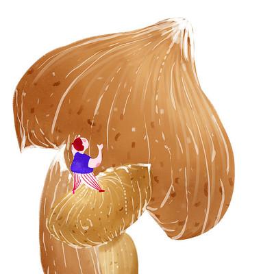 棕色大蘑菇手绘插画和人物卡通可爱人物