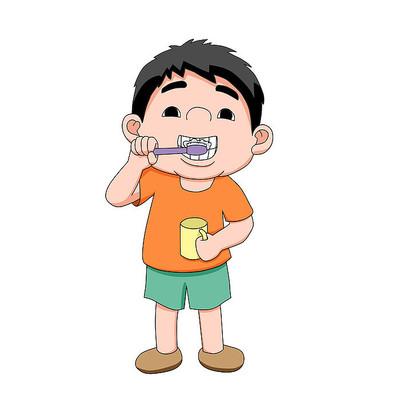 爱牙日刷牙卡通人物