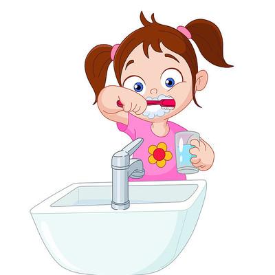 爱牙日刷牙女孩