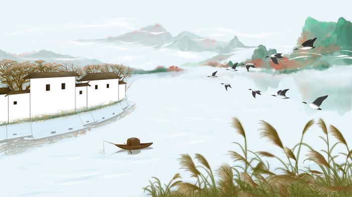 白露节气风景插画