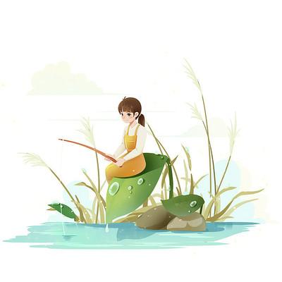 白露节气女孩在叶子上钓鱼PNG素材