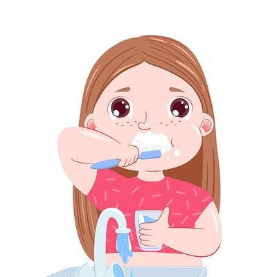 卡通爱牙日刷牙女孩