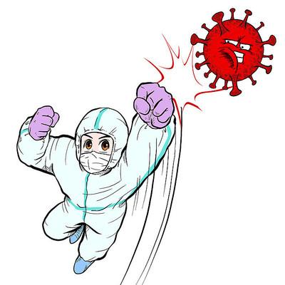 卡通风消毒医护人员