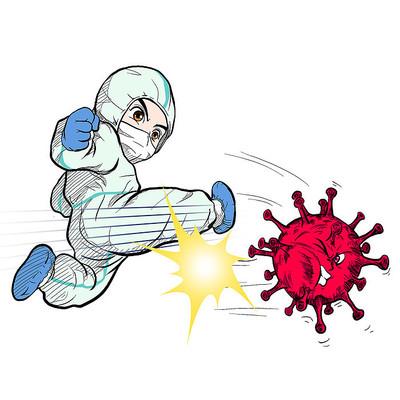 卡通风消毒医护人员疫情
