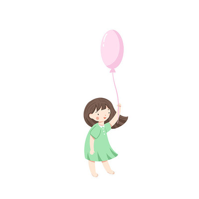 卡通拿气球女孩人物