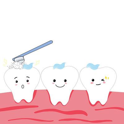 卡通拟人刷牙