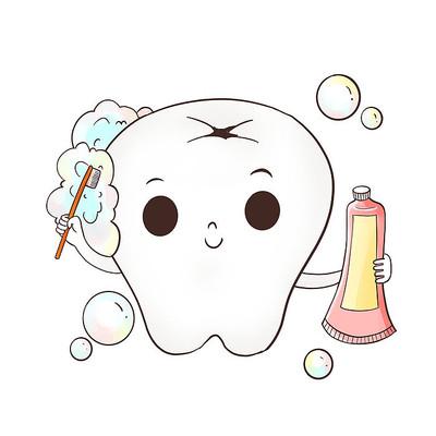 卡通拟人牙齿刷牙