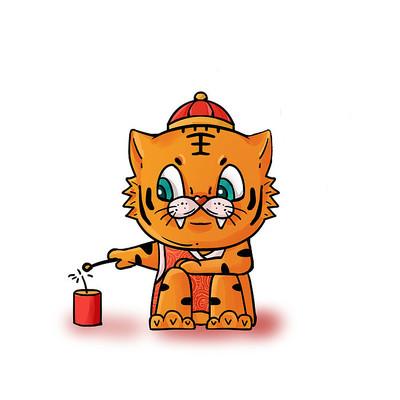 老虎虎年卡通