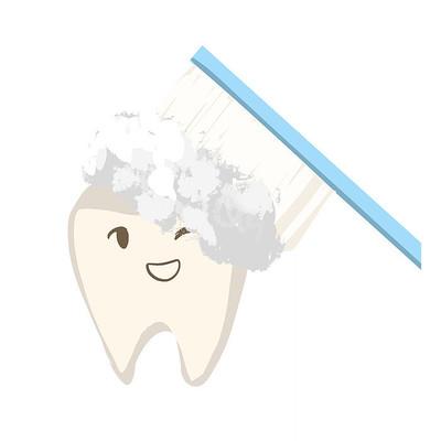 手绘爱牙日卡通牙齿刷牙