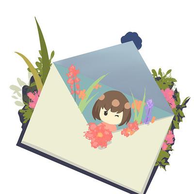 手绘卡通人物花卉信封