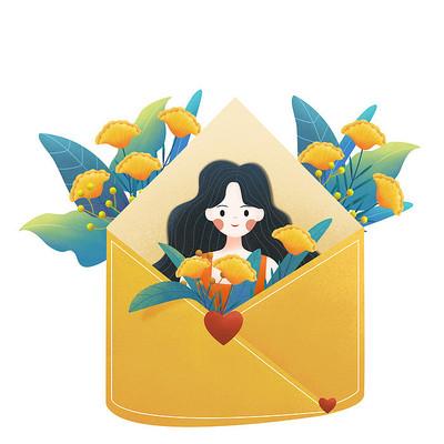 信封花卉人物组合