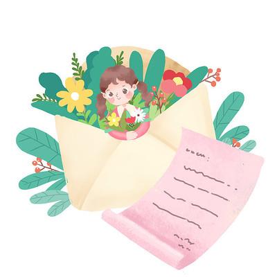 信封里边有花和人组合