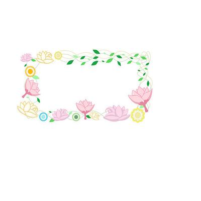原创手绘教师节花朵边框ai矢量