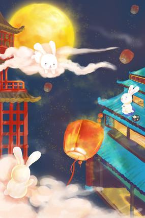 中秋建筑兔子孔明灯
