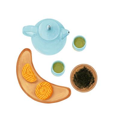 中秋节月饼茶壶茶叶
