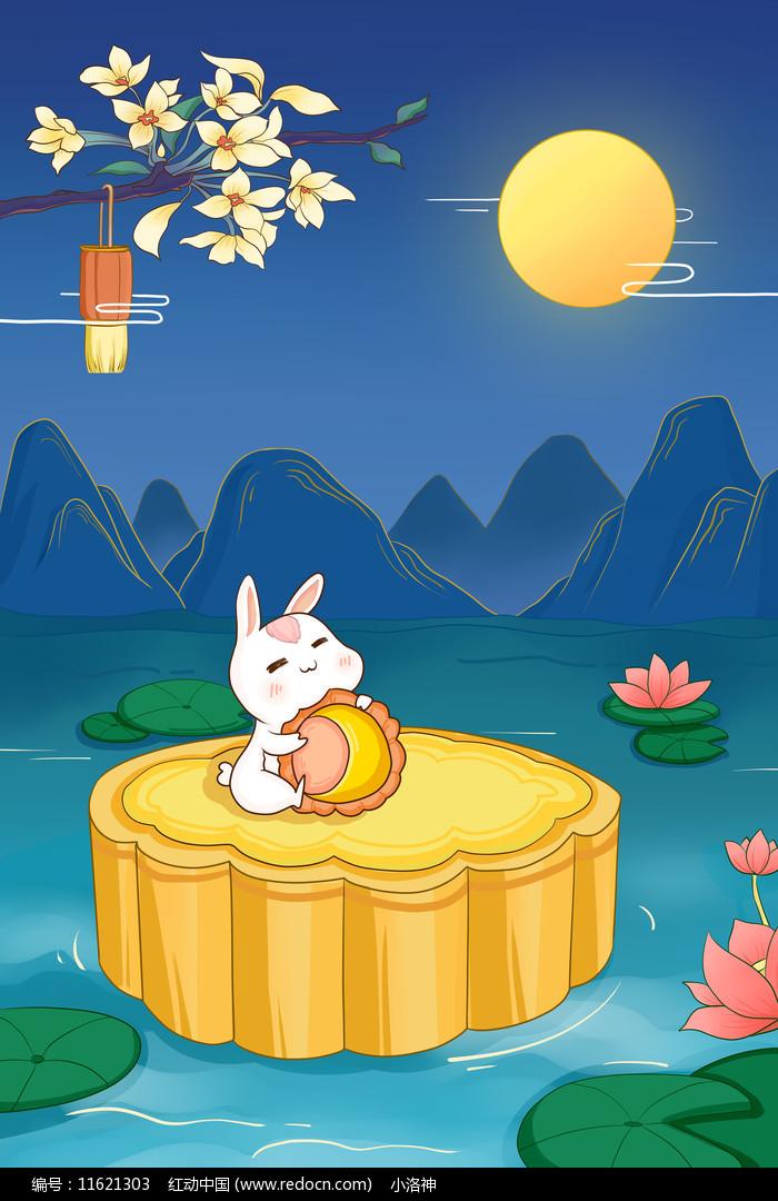 中秋玉兔月饼图片