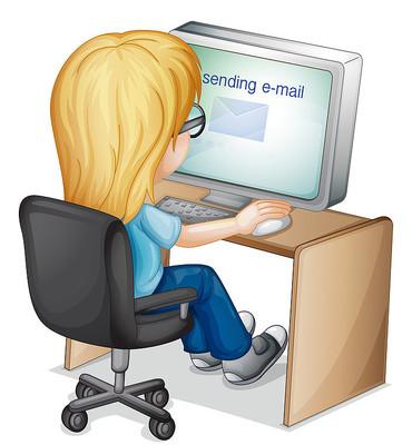 发送邮件的女孩卡通免扣图