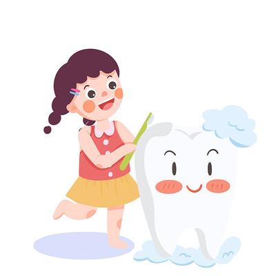 可爱风小女孩刷牙卡通