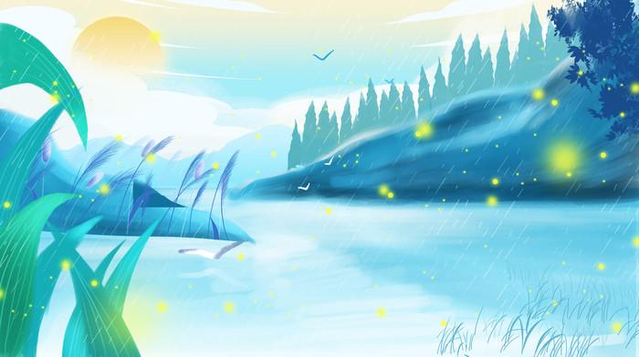 蓝色唯美二十四节气白露插画