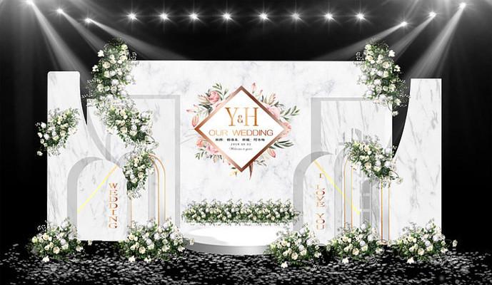 现代简约白色大理石纹理婚礼效果图