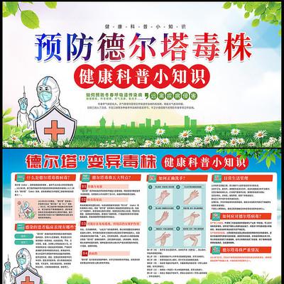 抗击疫情防控预防德尔塔毒株知识宣传展板