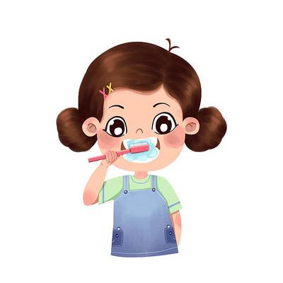 爱牙日女孩刷牙图