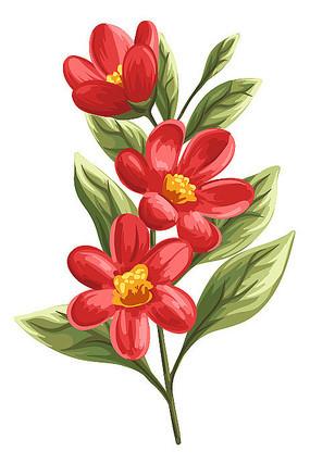 红色花卉免抠素材
