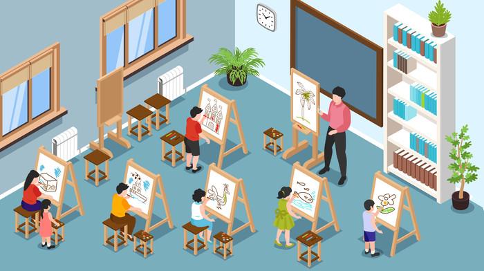 美术教室矢量教师节