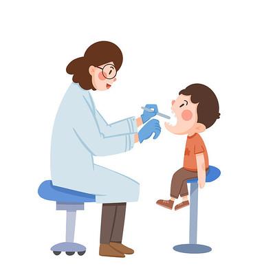 小朋友看牙医卡通元素
