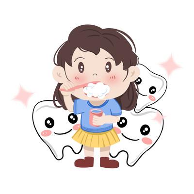 爱牙日人物儿童刷牙牙齿