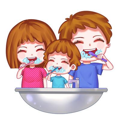 爱牙日人物一家人刷牙